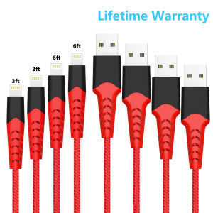 Boreguse Phone Charger, Cable for iPhone, 4Pack [3.3ft 6.6ft] Nylon Braided USB Charger Cable for iPhone Xs, Max, XR, X, 8 Plus, 8, 7 Plus, 7, 6 Plus, 6, 6S Plus, 6S, 5, iPad and More-Red