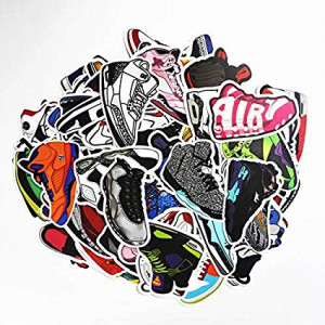 Sneakers Stickers 100pcs Laptop Cool Not Repeating Sneakers Decals for Laptop,Cars,Motorcycle,Bicycle,Luggage,Graffiti,Skateboard Stickers Hippie Waterproof for Kids Adult Wall Decor