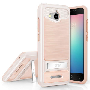LuckieFind Compatible Alcatel Tetra. Dual Layers Hybrid Case Kickstand Accessory (Rose Gold)