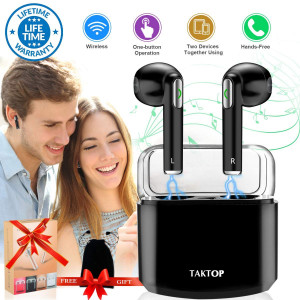Wireless Earbuds Stereo Bluetooth Headphones with Charging Case Mini in-Ear Earphones Built-in Mic Noise Canceling Sweatproof Sports Wireless Headphone Bluetooth Earbud for Android iOS (Black)
