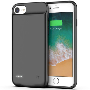 iPhone 8/7/6s/6 Battery Case, 3000mAh Portable Protective Charging Case iPhone 8/7/6s/6(4.7 inch) Slim Rechargeable Extended Battery Charger Case, Compatible Wire Headphones(Black)