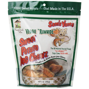Sam'S Yams Veggie Rawhide Sweet Potato Dog Treats, 5-Ounce