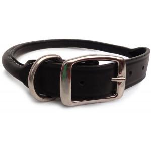 Auburn Leathercrafters Rolled Dog Collar - Black - 26