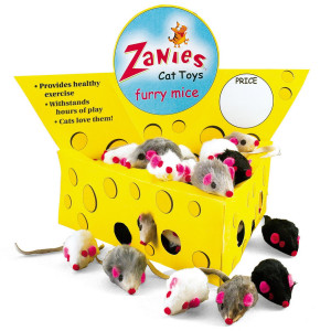 Pet Edge Zanies Cheese Wedge Display Box with 60 Furry Mice Toys for Cats  Mouse Measures 3 in Length Including Tail