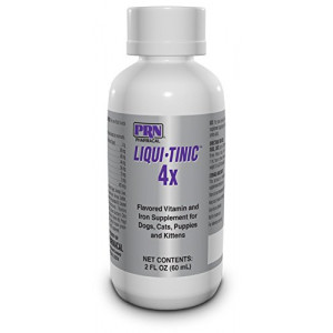 Liqui-Tinic 4x Flavored Vitamin and Iron Supplement for Dogs, Cats, Puppies and Kittens, 2 oz.