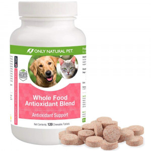 Only Natural Pet Whole Food Antioxidant Green Tea and Berry Antioxidant Vitamin Supplement Blend For Dogs and Cats To Support A Healthy Immune System, Fight Free Radical Damage - 120 Chewable Tablets