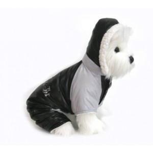 "Dog Coat - ""Ruffin' It"" Snowsuit - Black and Grey - Large (L)"