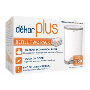 Dekor Plus Diaper Pail Refills | Most Economical Refill System | Quick and Easy to Replace | No Preset Bag Size  Use Only What You Need | Exclusive End-of-Liner Marking | Baby Powder Scent | 2 Count