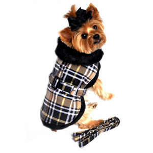 Lined Black and Brown Plaid Dog Coat with Matching Leash
