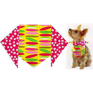 "Girl's Pink Surfboard Bandana for Dogs (S) Ties on 9"" - 10"" neck"