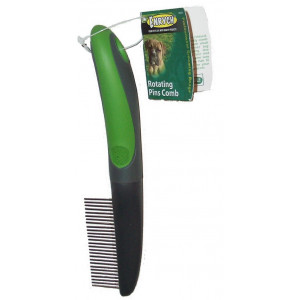 Enrych Rotating Pins Pet Comb, Green/Gray Series