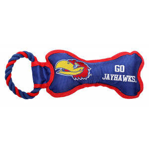 Pet Goods Manufacturing BONERP-054 NCAA Kansas Jayhawks Bone with Rope Dog Toy