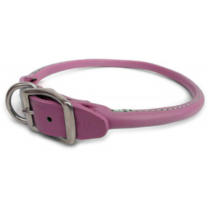 Auburn Leathercrafters Round - Rolled Dog Collar 1x22 PINK