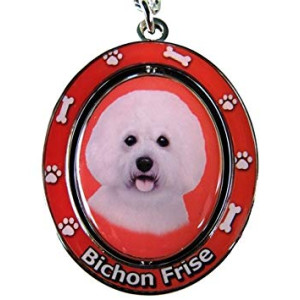 EandS Pets Bichon Frise Double Sided Spinning Key Chain, KC-4