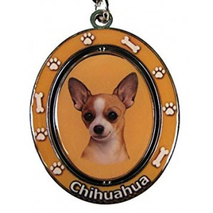 """Chihuahua Key Chain """"Spinning Pet Key Chains""""Double Sided Spinning Center With Chihuahuas Face Made Of Heavy Quality Metal Unique Stylish Chihuahua Gifts"""