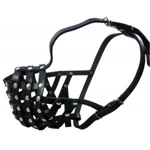 "Secure Leather Mesh Basket Dog Muzzle #15 Black - Rottweiler (Circumference 13.5"", Snout Length 4"")"
