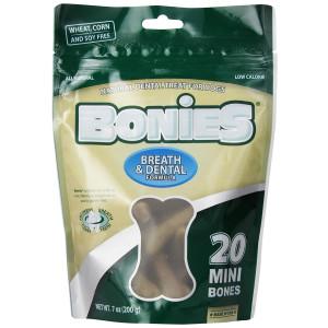 BONIES Natural Dental Bones Multi-Pack Mini for Dogs 5-15 LBS - Natural Dog Treat - Low Calories - Chicken Flavor - 20 Bones