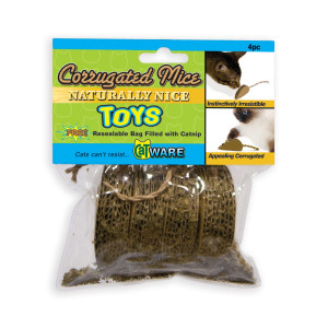 Ware Manufacturing Corrugated Mice Cat Toy with Catnip, Pack of 4