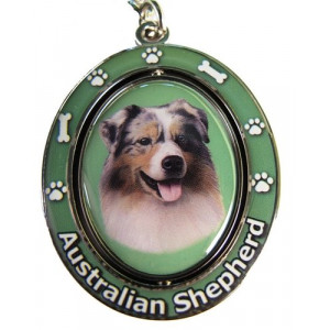 """Australian Shepherd Key Chain """"Spinning Pet Key Chains""""Double Sided Spinning Center With Australian Shepherds Face Made Of Heavy Quality Metal Unique Stylish Australian Shepherd Gifts"""