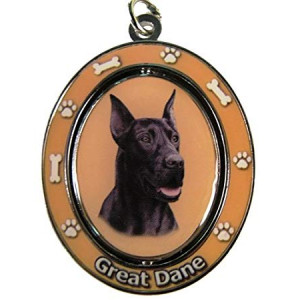 """Great Dane, Black Key Chain """"Spinning Pet Key Chains""""Double Sided Spinning Center With Great Danes Face Made Of Heavy Quality Metal Unique Stylish Great Dane Gifts"""