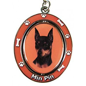 """Miniature Pinscher Key Chain """"Spinning Pet Key Chains""""Double Sided Spinning Center With Miniature Pinschers Face Made Of Heavy Quality Metal Unique Stylish Miniature Pinscher Gifts"""