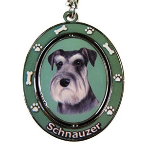 "Schnauzer, Uncropped Key Chain ""Spinning Pet Key Chains""Double Sided Spinning Center With Schnauzer, Uncroppeds Face Made Of Heavy Quality Metal Unique Stylish Schnauzer, Uncropped Gifts"