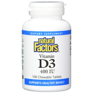 Natural Factors - Vitamin D3 400 IU, Supports Healthy Bones, 100 Chewable Tablets