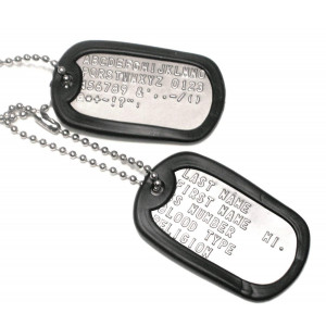 Army Universe Customized Military Dog Tags - Personalized Metal Tags Matte Set with 2 Chains and 2 Silencers (Choose Any Color)