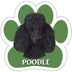 Poodle, Black Car Magnet With Unique Paw Shaped Design Measures 5.2 by 5.2 Inches Covered In UV Gloss For Weather Protection