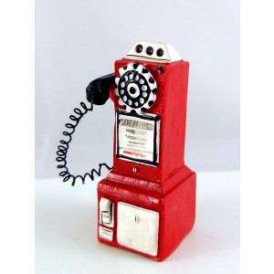 Dollhouse Miniature 1950's Style Pay Phone Red