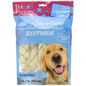 "Pet Factory Beefhide 7-8"" Medium Braids 6 Pack Made in USA"