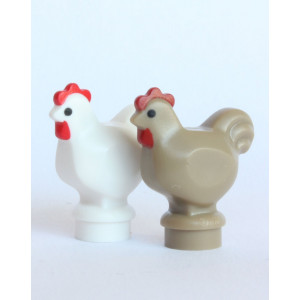 LEGO City - 2 Chickens - White and Brown - Farm Animals