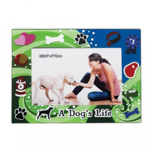 Little Gifts Dog's Life Green Glass Photo Frame