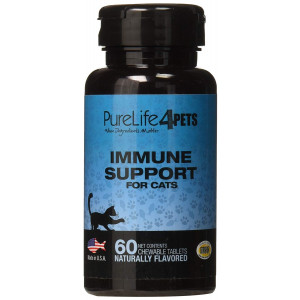 Immune Support Supplement for Cats  60 natural chews tablets with Organic Spirulina, Astaxanthin and Coenzyme Q10  Provides antioxidants  Supports overall ocular health - Made in USA