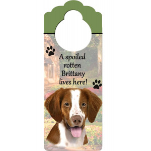 """Brittany Spaniel Wood Sign """"A Spoiled Rotten Brittany Spaniel Lives Here""""with Artistic Photograph Measuring 10 by 4 Inches Can Be Hung On Doorknobs Or Anywhere In Home"""