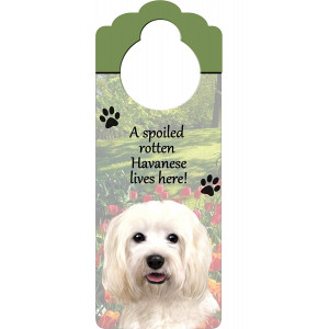 "Havanese Wood Sign ""A Spoiled Rotten Havanese Lives Here""with Artistic Photograph Measuring 10 by 4 Inches Can Be Hung On Doorknobs Or Anywhere In Home"