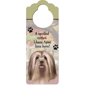 """Lhasa Apso Wood Sign """"A Spoiled Rotten Lhasa Apso Lives Here""""with Artistic Photograph Measuring 10 by 4 Inches Can Be Hung On Doorknobs Or Anywhere In Home"""