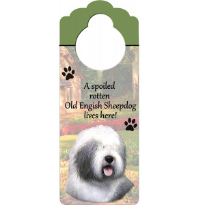 """Old English Sheepdog Wood Sign """"A Spoiled Rotten Old English Sheepdog Lives Here""""with Artistic Photograph Measuring 10 by 4 Inches Can Be Hung On Doorknobs Or Anywhere In Home"""