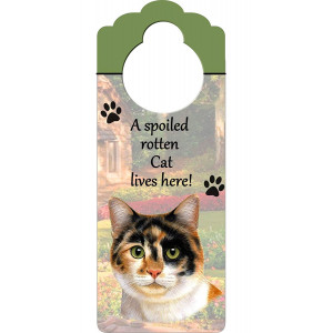 """Calico Cat Wood Sign """"A Spoiled Rotten Calico Cat Lives Here""""with Artistic Photograph Measuring 10 by 4 Inches Can Be Hung On Doorknobs Or Anywhere In Home"""