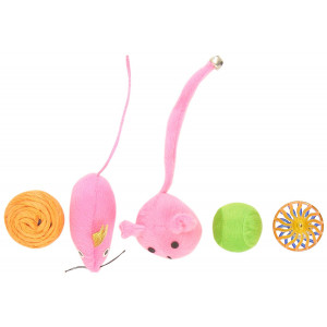 Boss Pet Chomper Kylie's Brites 8-Piece Feather Mouse and Ball Toy Set for Pets