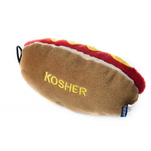 Copa Judaica Chewish Treat 6 by 3 by 3-Inch Kosher Hot Dog Squeaker Plush Dog Toy, Multicolor