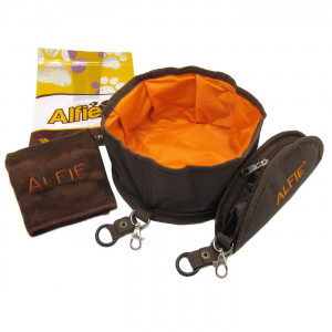 Alfie Pet by Petoga Couture - Fabric Expandable/Collapsible Travel Bowl (for food and water) - Color: Brown