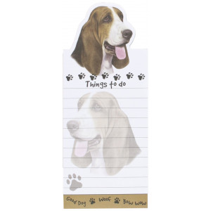 """Basset Hound Magnetic List Pads"" Uniquely Shaped Sticky Notepad Measures 8.5 by 3.5 Inches"
