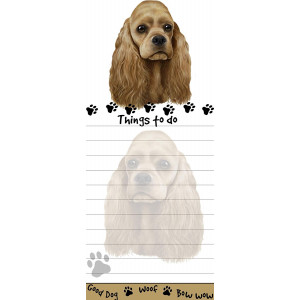 """""""Cocker Spaniel Magnetic List Pads"""" Uniquely Shaped Sticky Notepad Measures 8.5 by 3.5 Inches"""