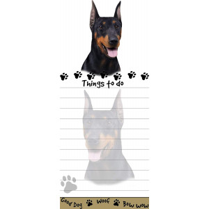 """""""Doberman Magnetic List Pads"""" Uniquely Shaped Sticky Notepad Measures 8.5 by 3.5 Inches"""