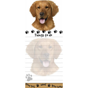 """""""Golden Retriever Magnetic List Pads"""" Uniquely Shaped Sticky Notepad Measures 8.5 by 3.5 Inches"""