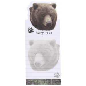 """""""Grizzly Bear Magnetic List Pads"""" Uniquely Shaped Sticky Notepad Measures 8.5 by 3.5 Inches"""