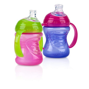 Nuby 2-Pack Two-Handle No-Spill Super Spout Grip N' Sip Cups, 8 Ounce, Pink and Purple
