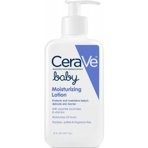 CeraVe Baby Lotion 8 Ounce Gentle Baby Skin Care with Hyaluronic Acid Paraben and Fragrance Free