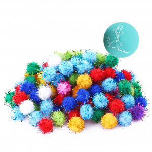 """Rimobul Assorted Color Sparkle Balls My Cat's All Time Favorite Toy - 1.5"""" - 50 Pack"""